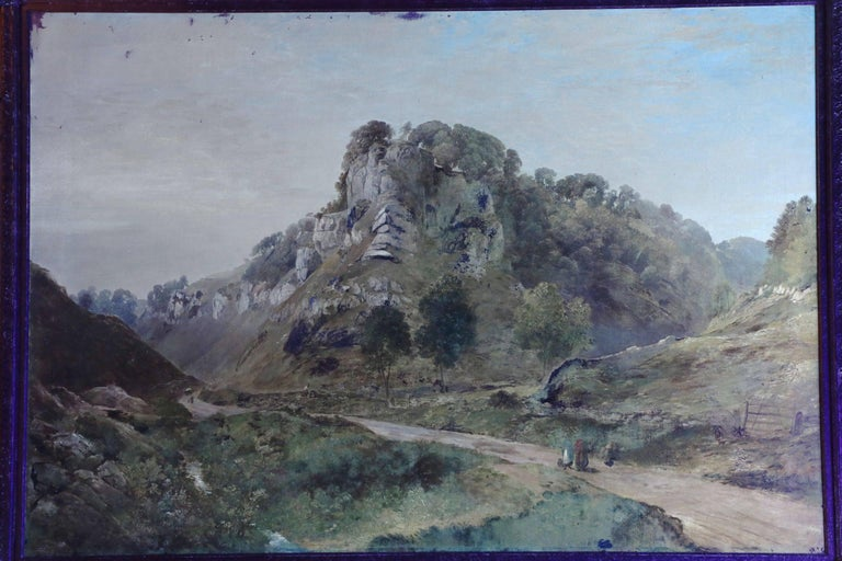 Antique British Landscape Oil Painting of Path through Mountains, 19th Century For Sale 5