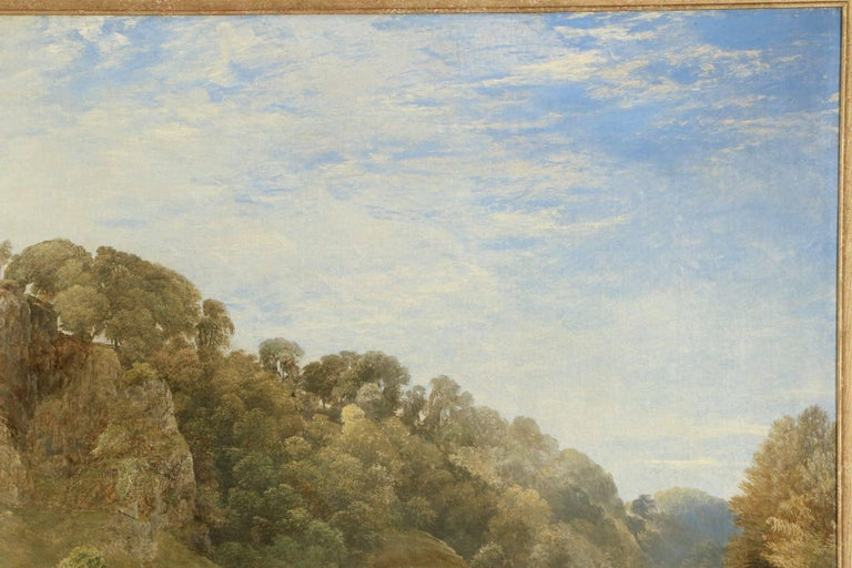 Painted Antique British Landscape Oil Painting of Path through Mountains, 19th Century For Sale