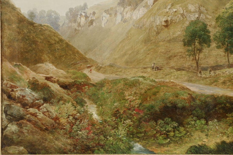 Antique British Landscape Oil Painting of Path through Mountains, 19th Century In Good Condition For Sale In Shippensburg, PA