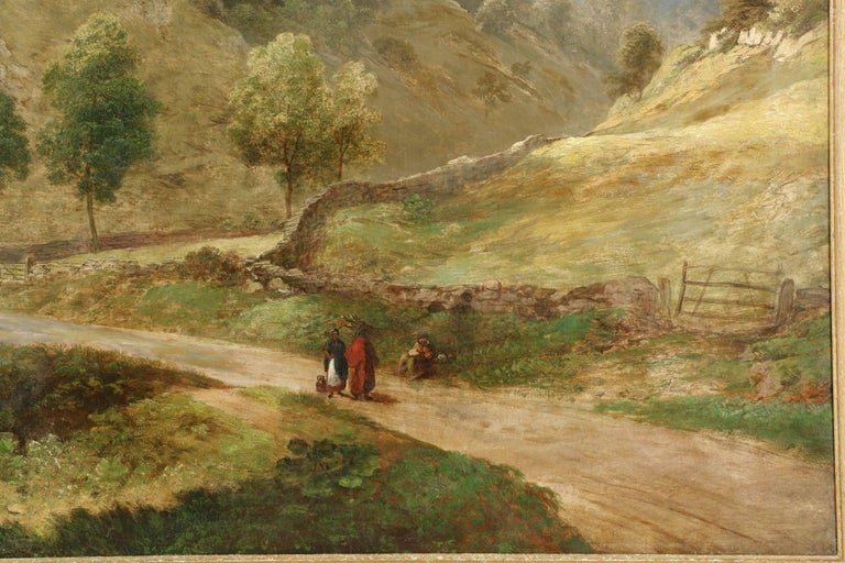 Canvas Antique British Landscape Oil Painting of Path through Mountains, 19th Century For Sale