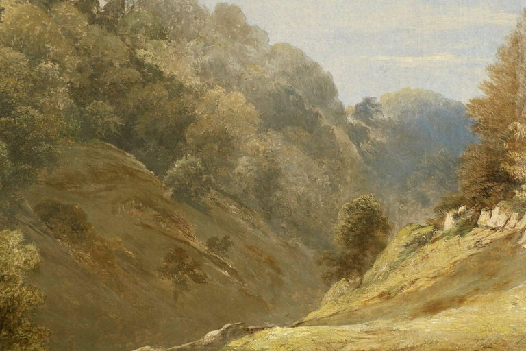 Antique British Landscape Oil Painting of Path through Mountains, 19th Century For Sale 2