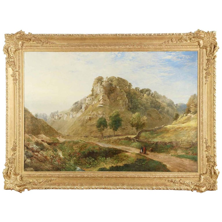 Antique British Landscape Oil Painting of Path through Mountains, 19th Century For Sale