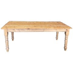Antique British Scrubbed Pine Dining Table