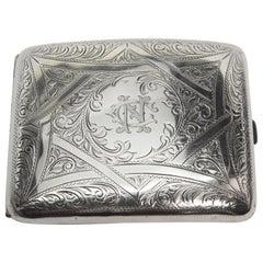 Antique British Sterling Silver Engraved Cigarette Case