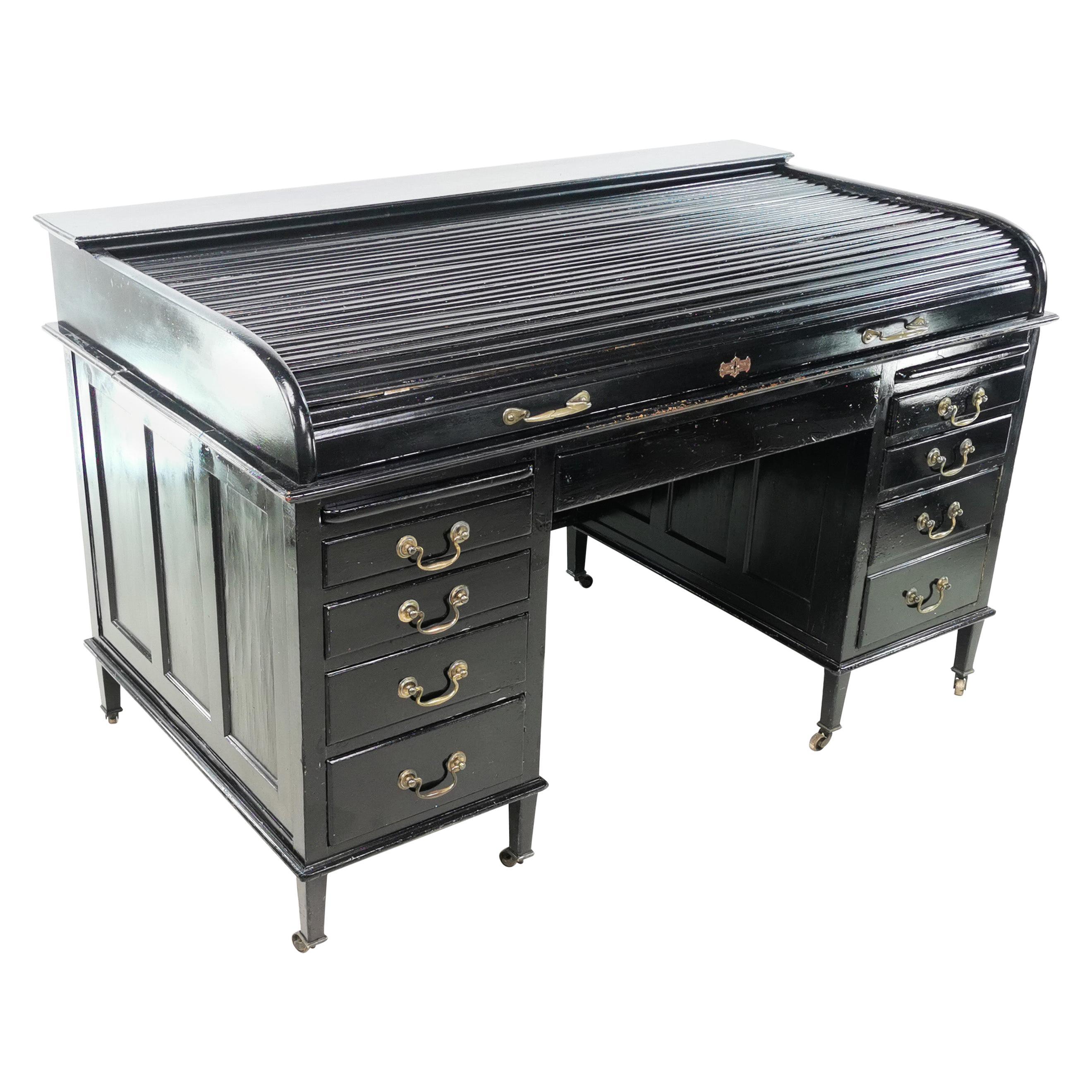 Antique Britsim Tambour Top Desk