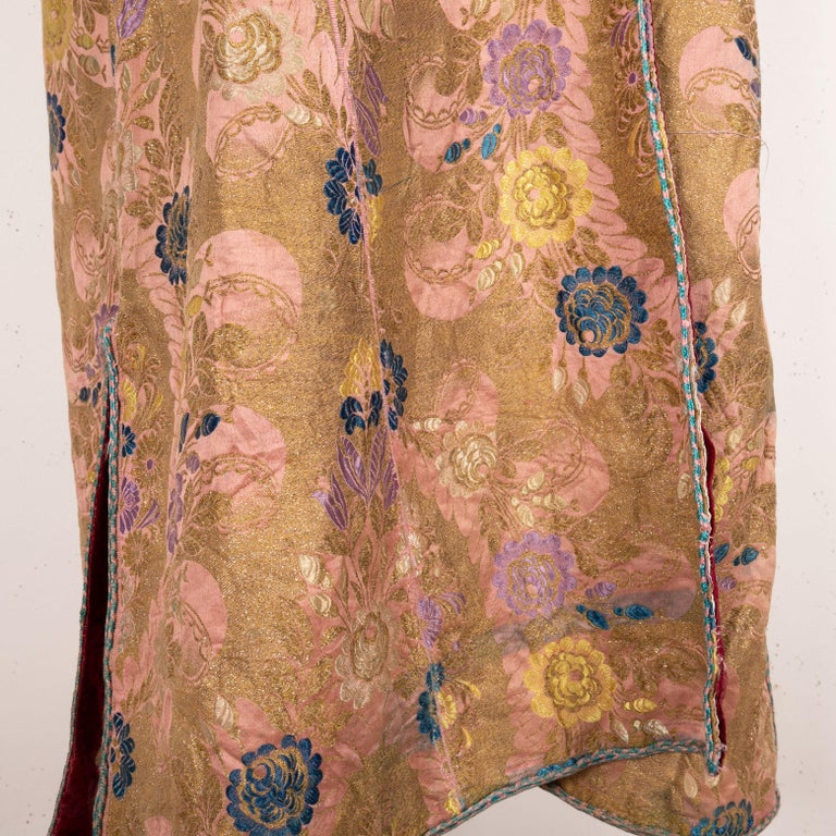 Woven Antique Brocaded Moroccan Kaftan, Early 20th Century For Sale