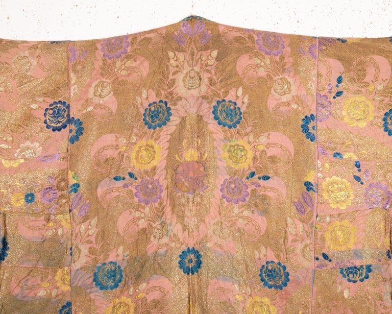 Silk Antique Brocaded Moroccan Kaftan, Early 20th Century For Sale