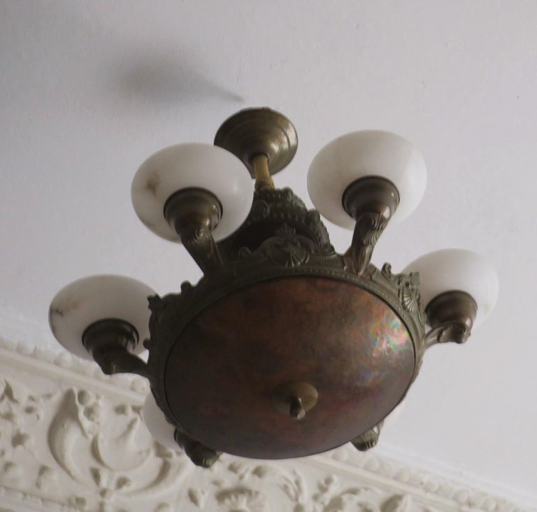 German Antique Bronze and Alabaster Chandelier with Six Lights For Sale