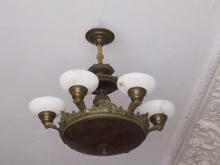 Antique Bronze and Alabaster Chandelier with Six Lights For Sale 1