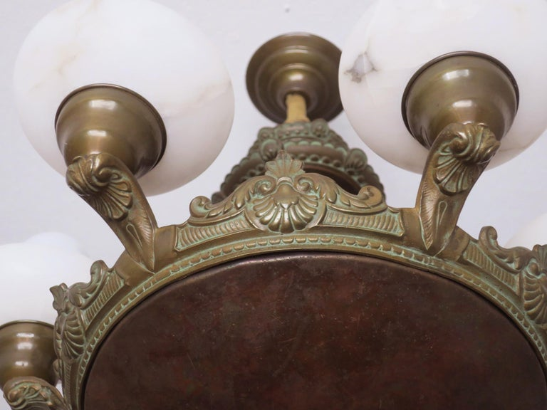 Antique Bronze and Alabaster Chandelier with Six Lights For Sale 3