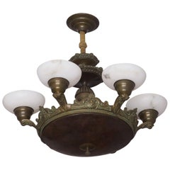 Antique Bronze and Alabaster Chandelier with Six Lights