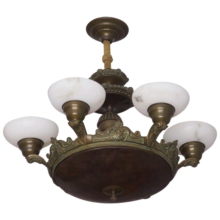 Antique Bronze and Alabaster Chandelier with Six Lights For Sale