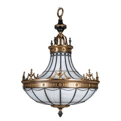 Antique Bronze and Leaded Glass Chandelier, circa 1920