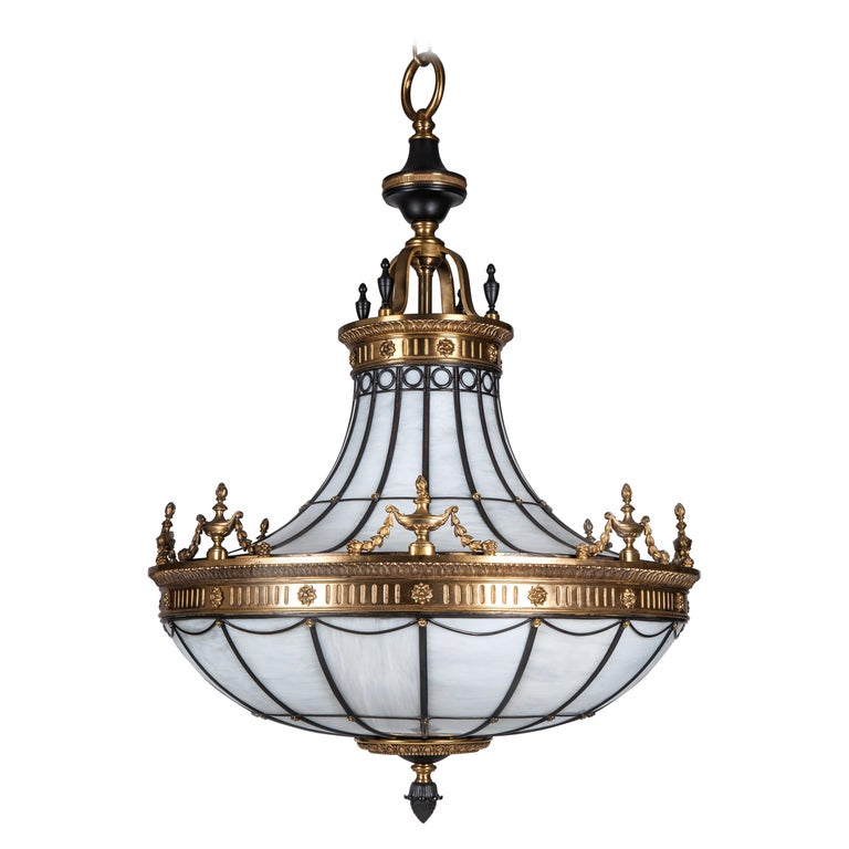 Antique Bronze and Leaded Glass Chandelier, circa 1920 For Sale