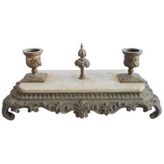 Antique Bronze and Marble Inkwell