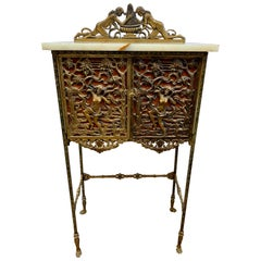 Antique Bronze and Onyx Telephone Stand Cabinet Table or Bar Drybar Console