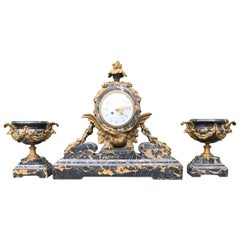 Antique Bronze and Stunning Marble Clock Garniture with Eagle Sculptures