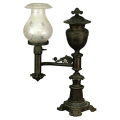 Antique Bronze Argand Student Lamp & Shade, Electrified, Circa 1820