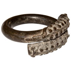 Antique Bronze Bracelet from Laos with a Naga or Serpent Motif, 18th Century