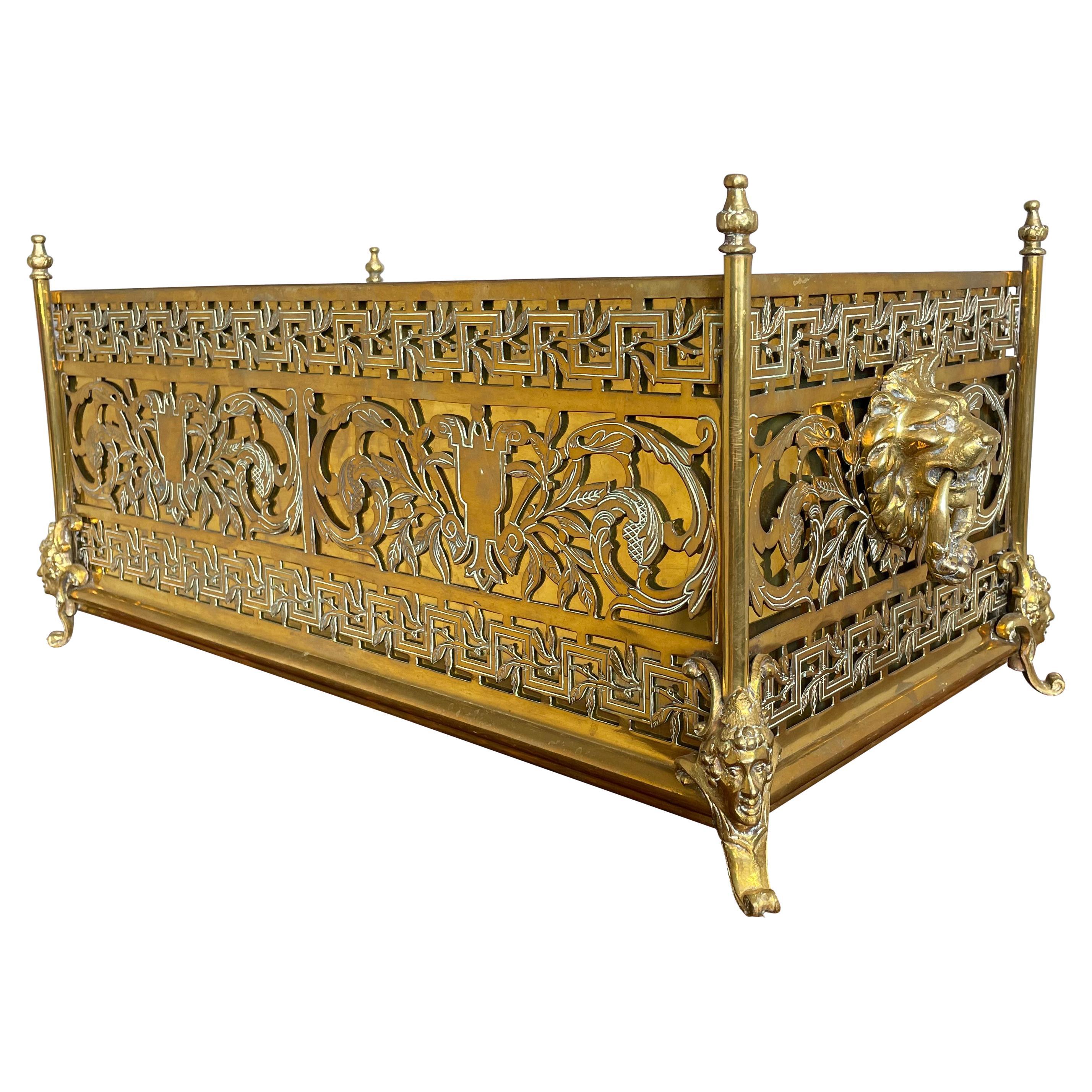 Antique Bronze & Brass Renaissance Revival Jardiniere Planter w. Original Liner