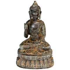 Antique Bronze Buddha, Gesture of Fearlessness
