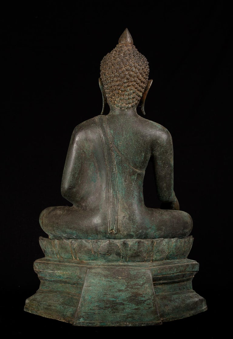 18th Century and Earlier Antique Bronze Buddha of Enlightenment Serene Down Cast Eyes, 18th Century For Sale