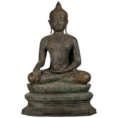 Antique Bronze Buddha Of Enlightenment Serene Down Cast Eyes, 18th Century