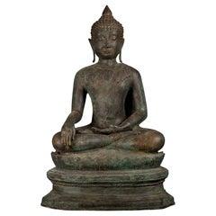Antique Bronze Buddha of Enlightenment Serene Down Cast Eyes, 18th Century