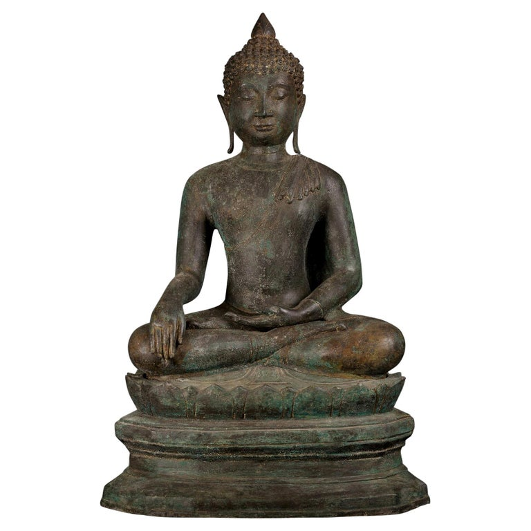 Antique Bronze Buddha of Enlightenment Serene Down Cast Eyes, 18th Century For Sale