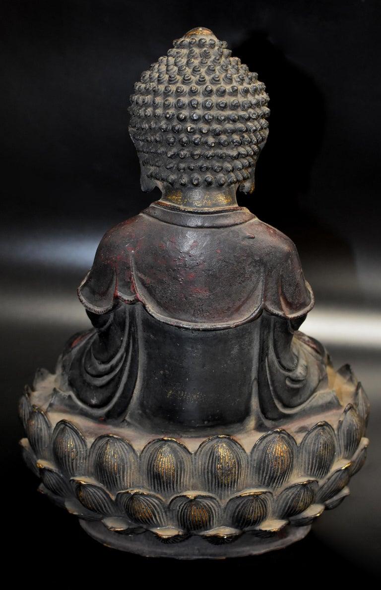 Bronze Buddha on Lotus Throne For Sale 8