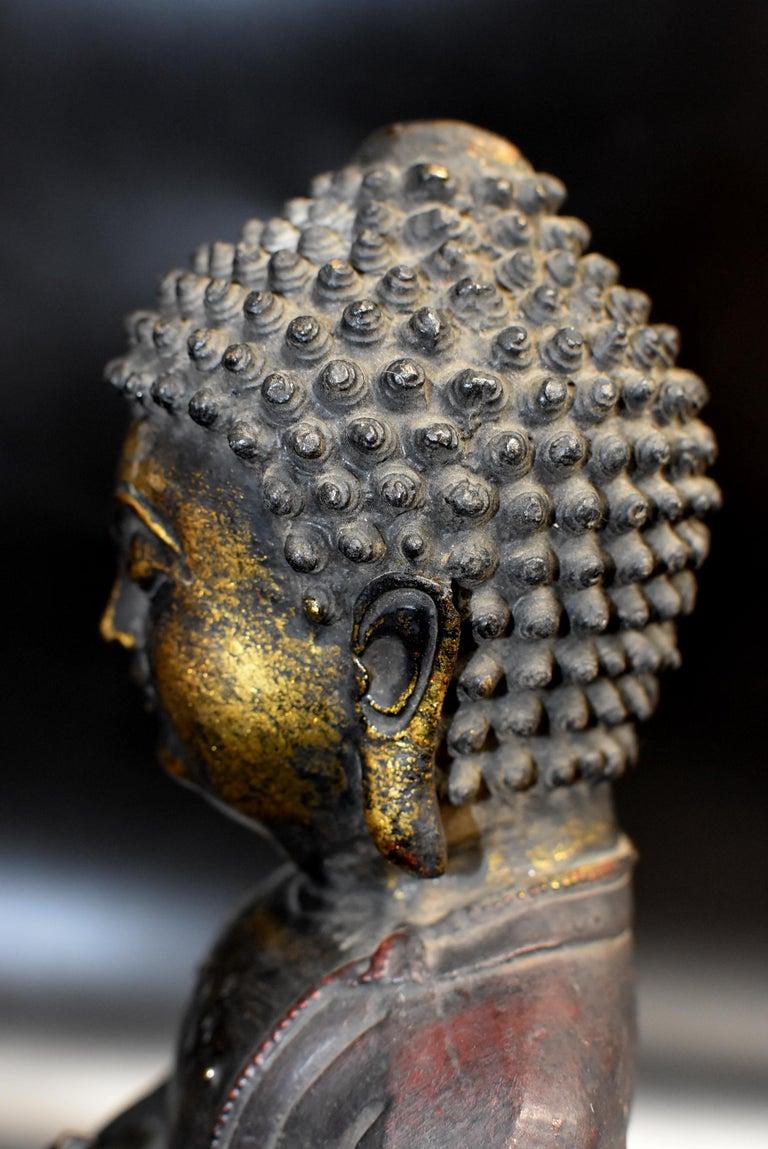 Bronze Buddha on Lotus Throne For Sale 10