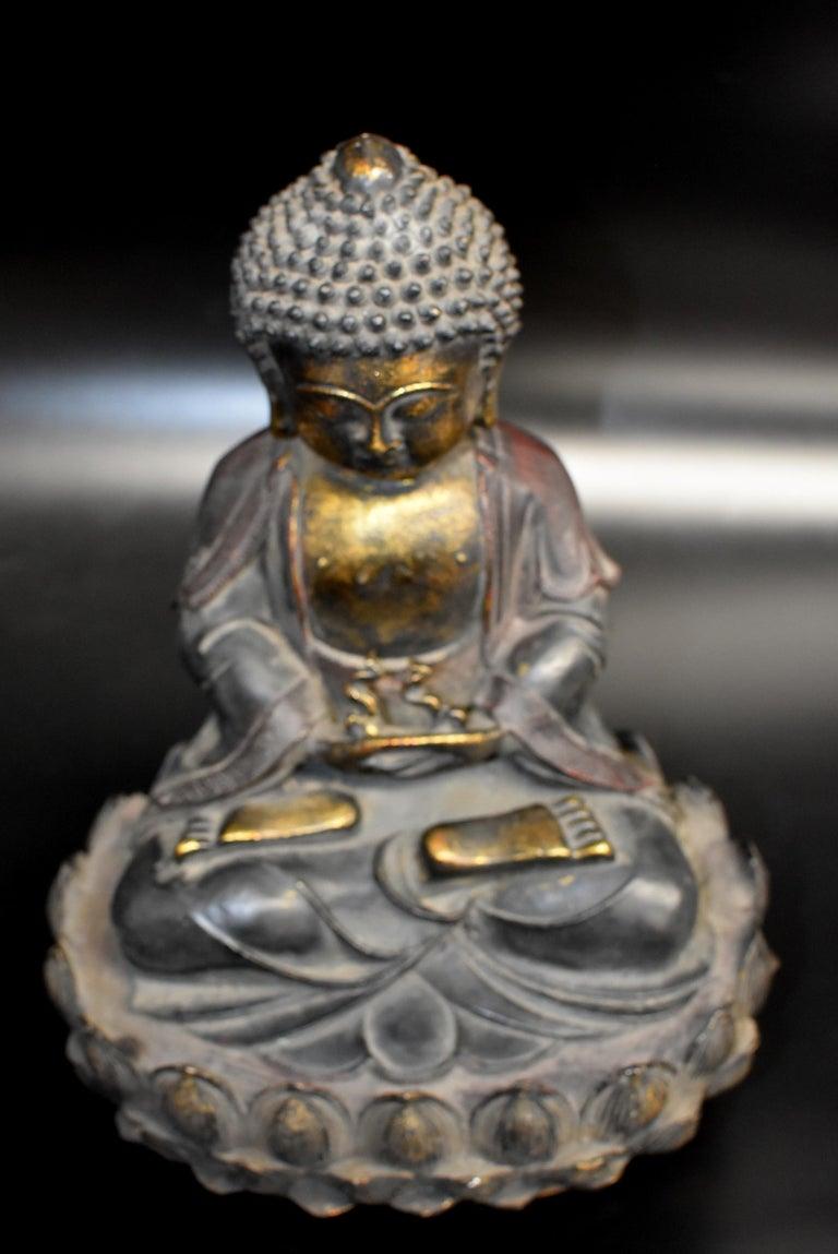 Bronze Buddha on Lotus Throne For Sale 13