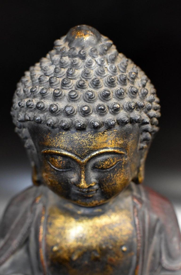 Bronze Buddha on Lotus Throne For Sale 14