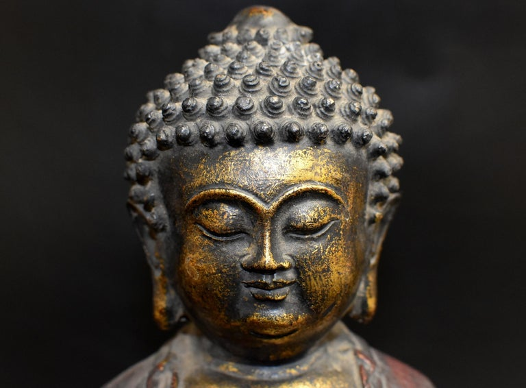 Chinese Bronze Buddha on Lotus Throne For Sale