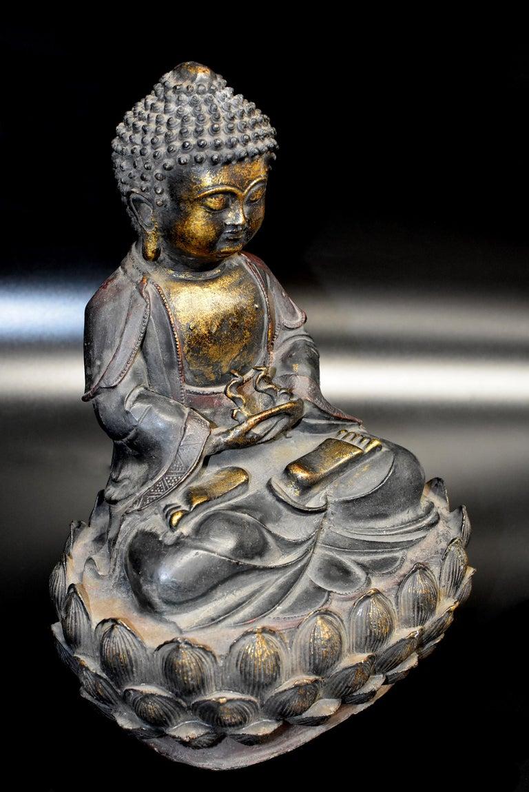 Bronze Buddha on Lotus Throne For Sale 1