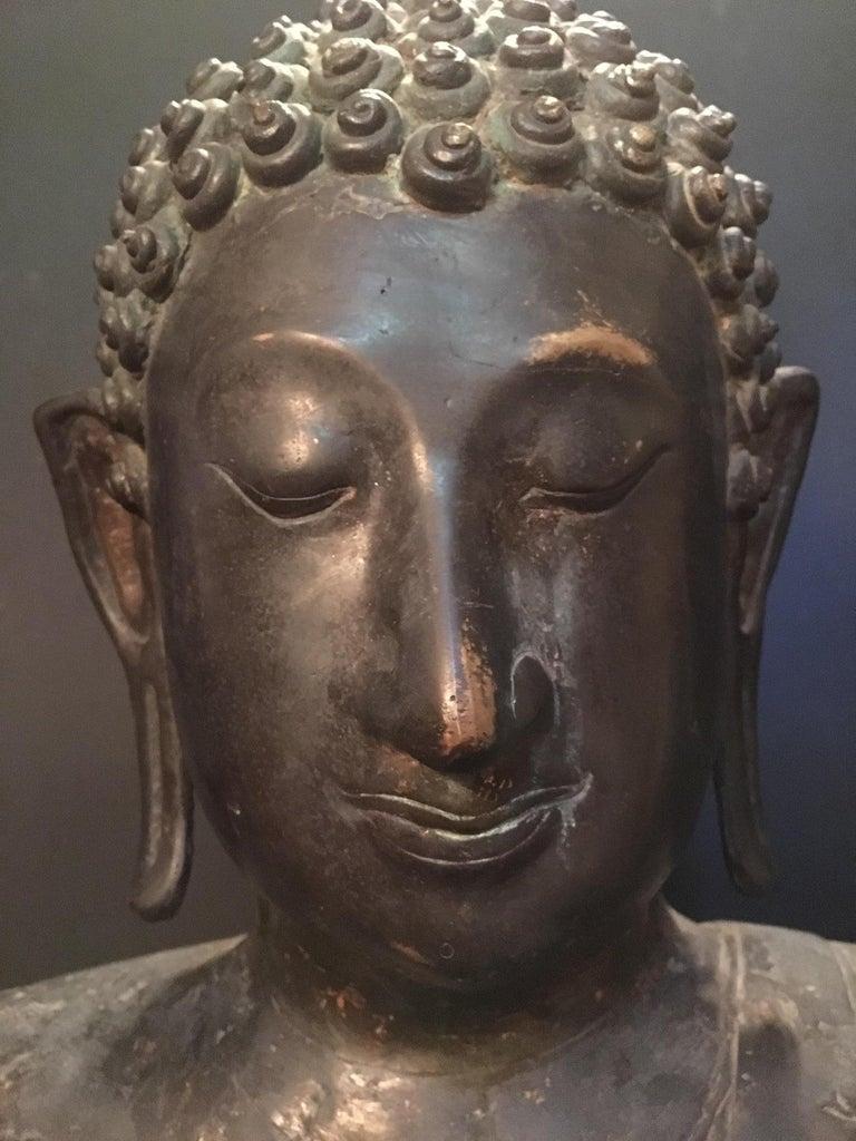 Ming Antique Bronze Bust of Buddha, Thailand Ayutthaya, circa 18th Century