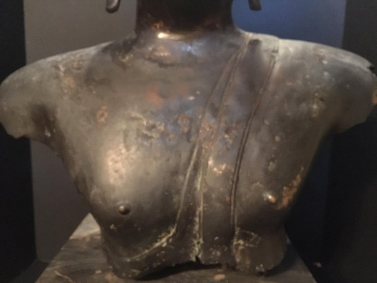 Antique Bronze Bust of Buddha, Thailand Ayutthaya, circa 18th Century In Good Condition In Vero Beach, FL
