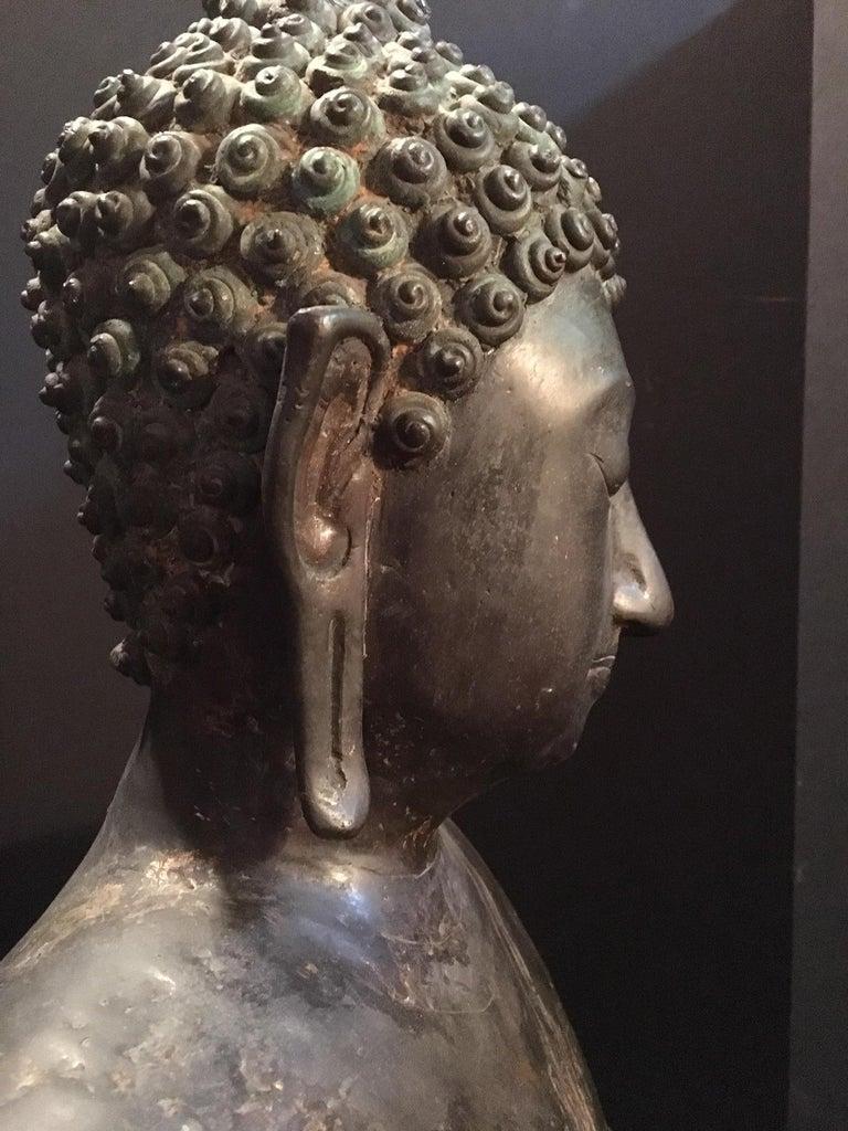 Antique Bronze Bust of Buddha, Thailand Ayutthaya, circa 18th Century 2