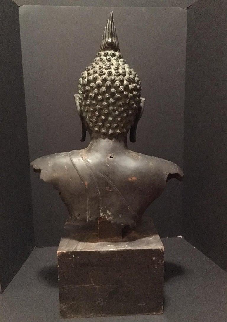 Antique Bronze Bust of Buddha, Thailand Ayutthaya, circa 18th Century 3