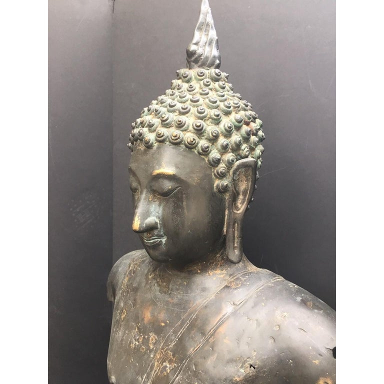 18th Century and Earlier Antique Bronze Bust of Buddha, Thailand Ayutthaya, circa 18th Century