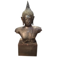 Antique Bronze Bust of Buddha, Thailand Ayutthaya, circa 18th Century