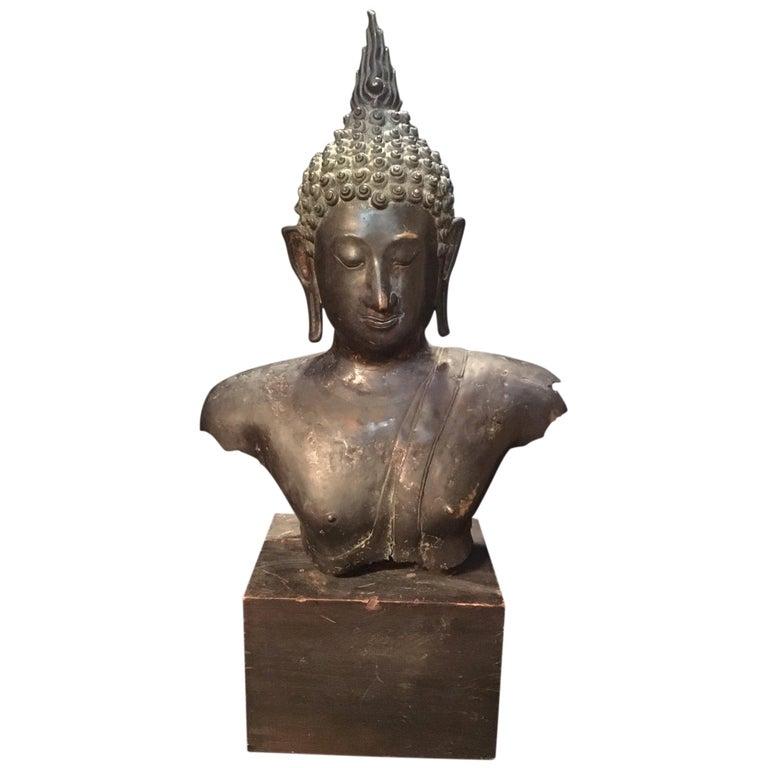 Antique Bronze Bust of Buddha, Thailand Ayutthaya, circa 18th Century