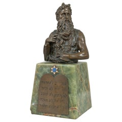 Antique Bronze Bust of Moses Mounted on Onyx with Plaque of 10 Commandments
