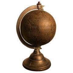 Antique Bronze Celestial Globe Sphere Engraved Holy Islamic Sites, Mumbai