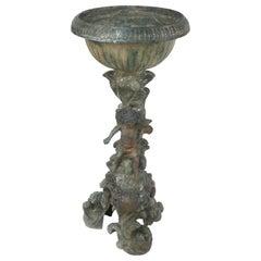 Antique Bronze Cherub Jardinière Planter