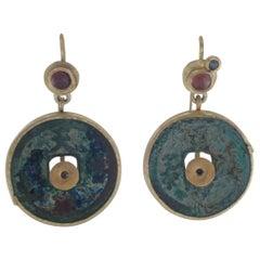 Antique Bronze Coin Tourmaline Diamond 21-22 Karat Gold Dangle Drop Earrings