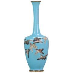 Antique Bronze / Copper Cloisonne Vase Japan 19th Century Bird scene