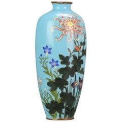 Antique Bronze / Copper Cloisonne Vase Japan 19th Century Flower scene