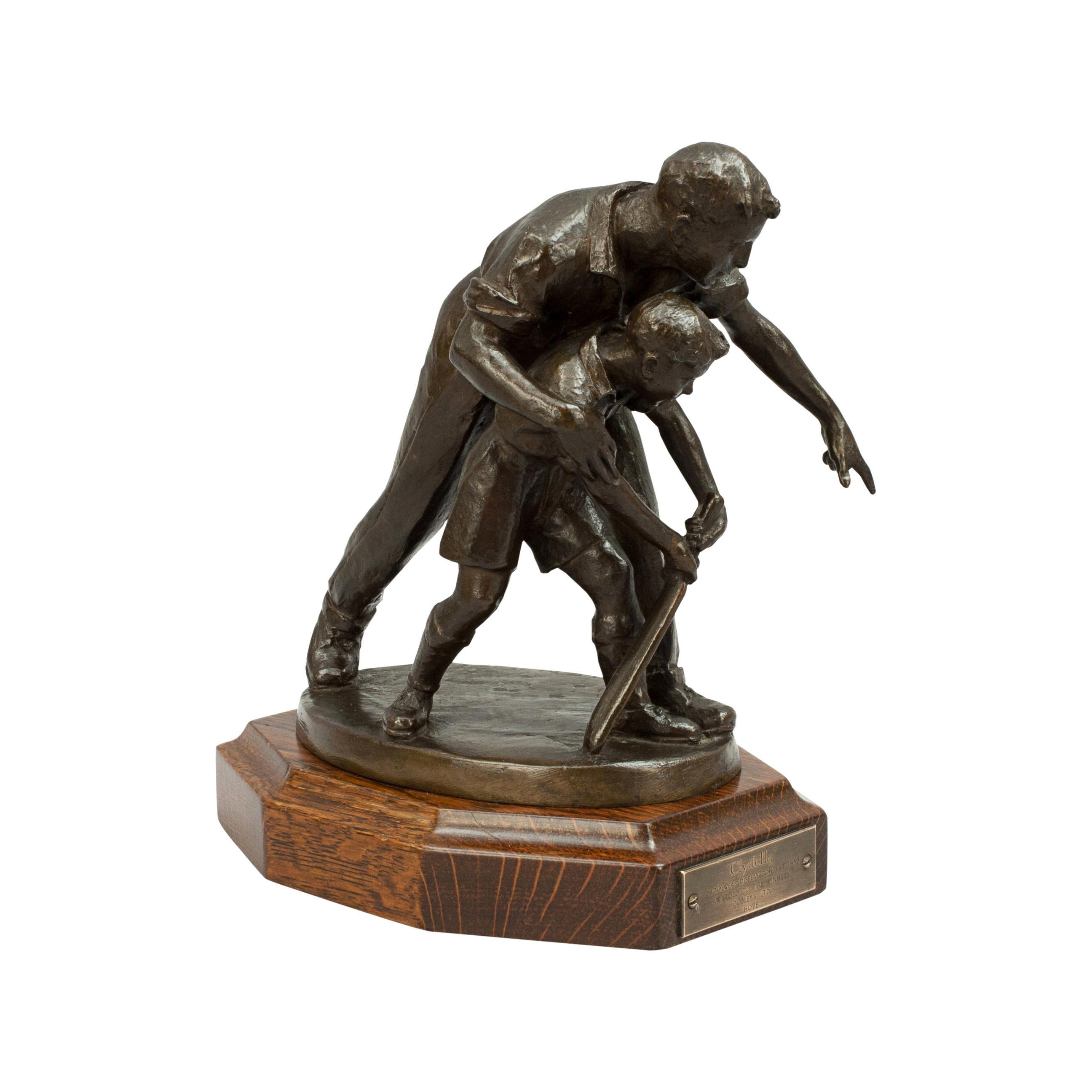 Antique Bronze Cricket Figures, Father & Son Cricket Statue