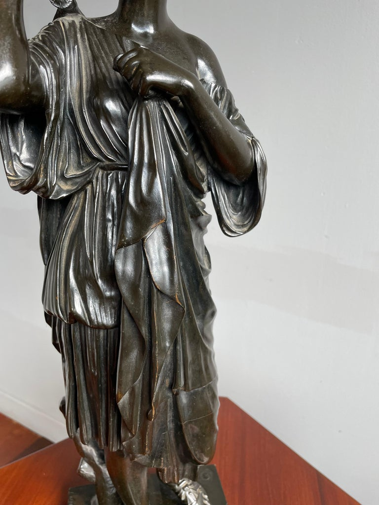 Antique Bronze Diana of Gabii Sculpture Made & Marked F. Barbedienne & L. Collas For Sale 8